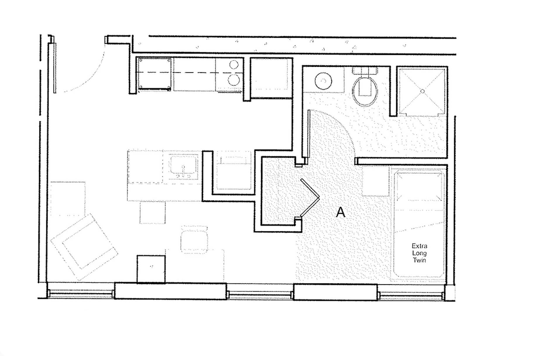 Studio Apartment Layout for 318