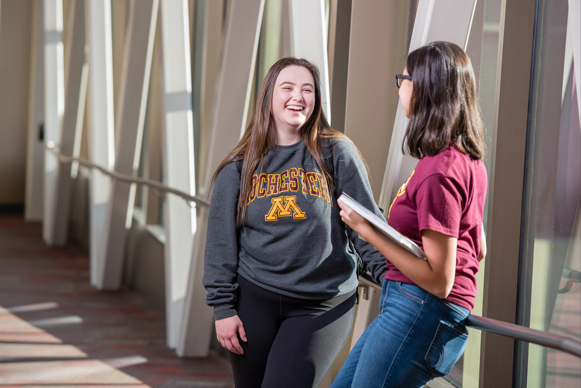 University of Minnesota Rochester students smiling in the skyway